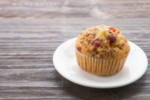 Muffin on wooden table