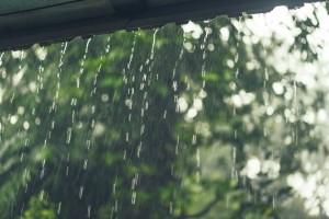 rain outside the windows of the villa. tropics