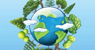 Global warming poster with tree on earth
